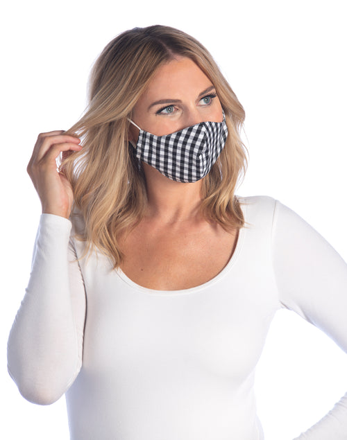 Gingham Face Mask,Black