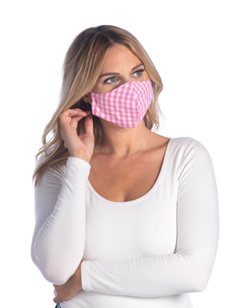 Gingham Face Mask,Pink