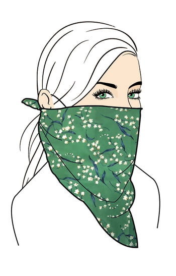 Floral Bandana Face Mask And 2 Filters Set,Green