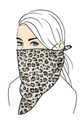 LEOPARD BANDANA FACE MASK AND 2 FILTERS SET,MULTI