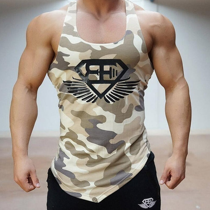 Men's gyms tank top - camouflage - bodybuilding
