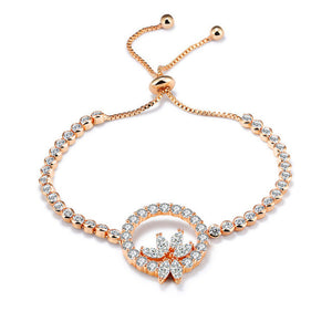 Rose Gold Bracelets - Crystal Flower Zircon