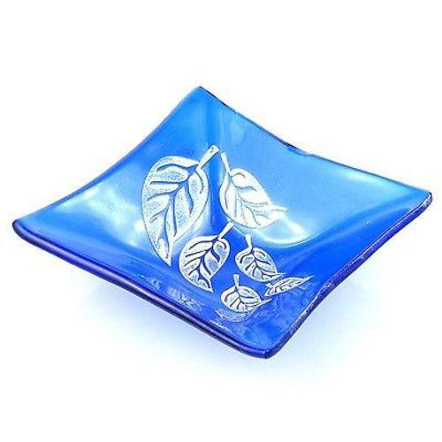 Etched Leaf Small Recycled Blue Glass Dish Handmade and Fair Trade