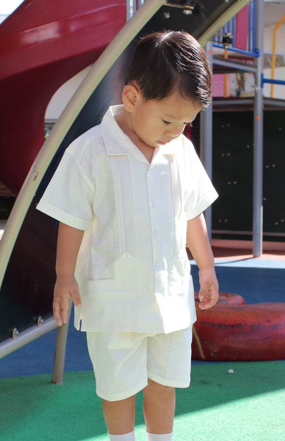 Authentic Guayabera Short Set for Boys - Butter