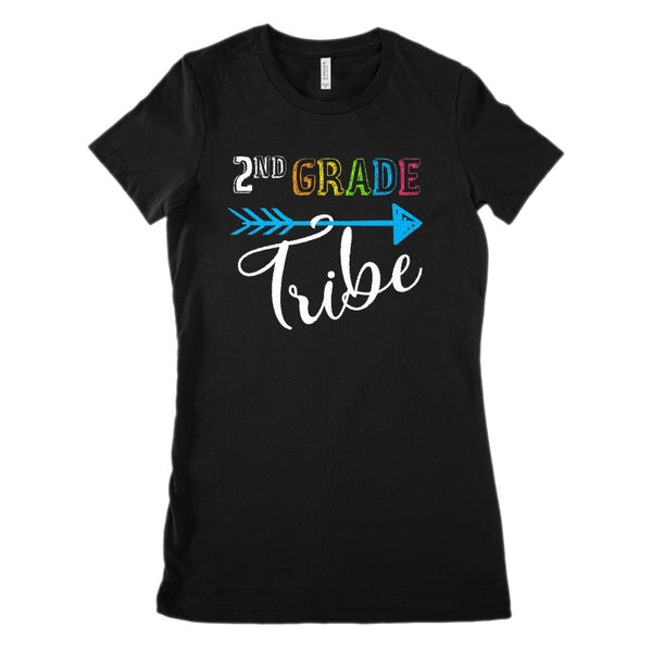 2nd Grade Tribe Graphic Teacher (Women's BC 6004 Soft Tee) Graphic T-Shirt Tee BOXELS