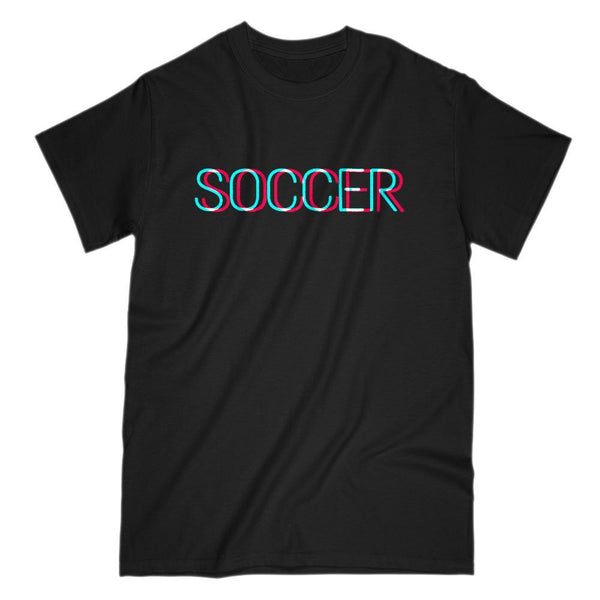 3D Soccer Text - Social Graphic Saying T-Shirt Graphic T-Shirt Tee BOXELS