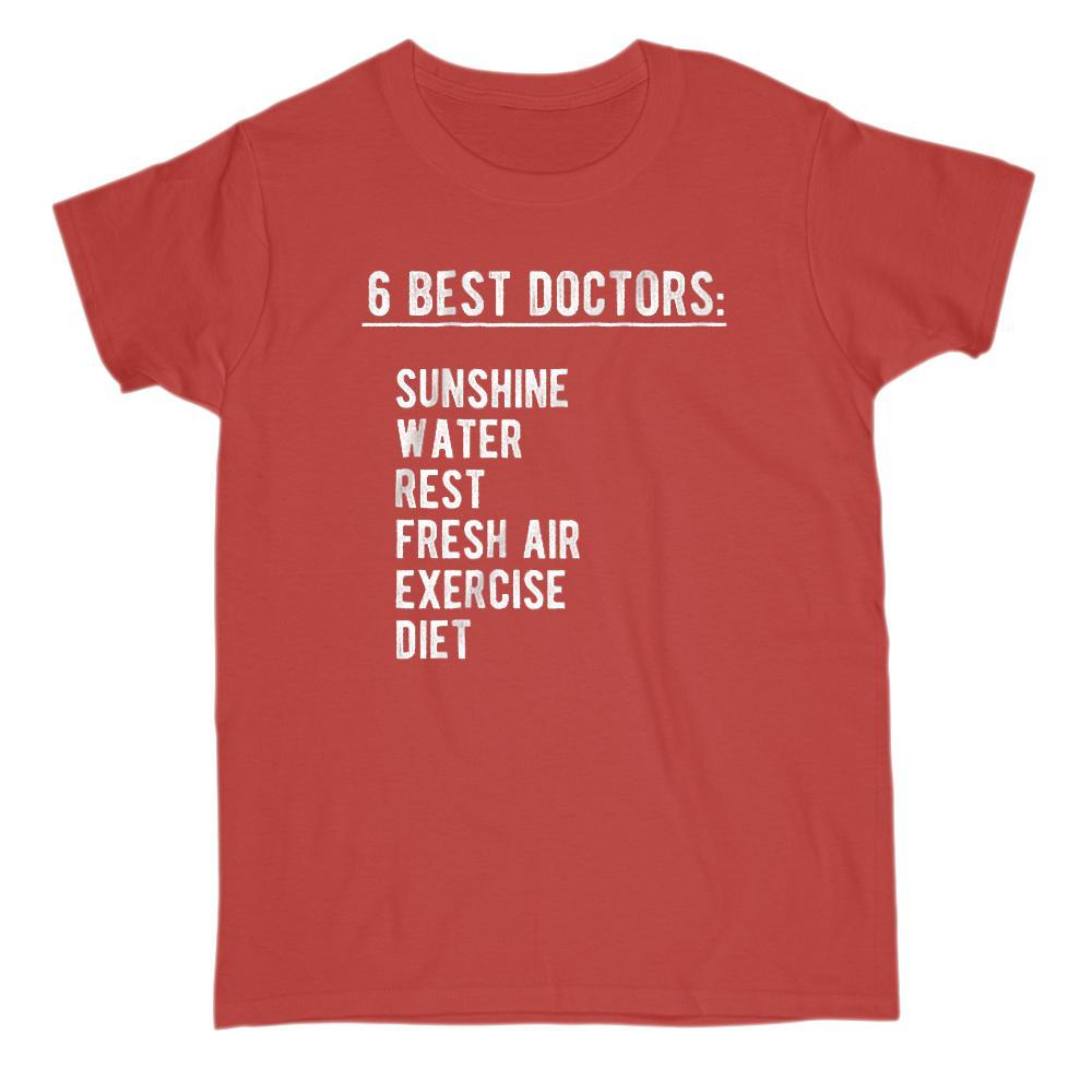 6 best doctors sunshine water, rest, air, exercise, diet T-shirt Graphic T-Shirt Tee BOXELS