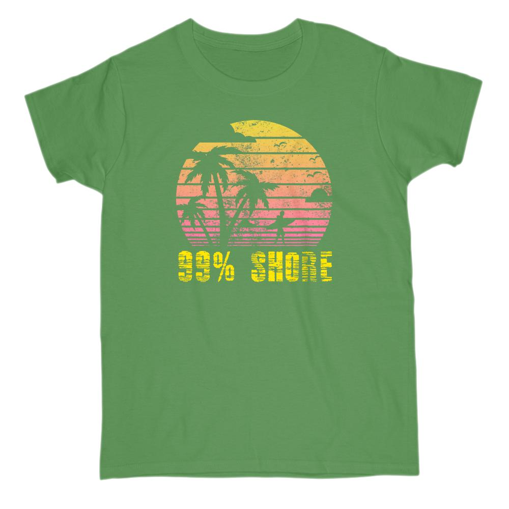 99 % Shore Sunset Beach Palms (Women Tee) Graphic T-Shirt Tee BOXELS