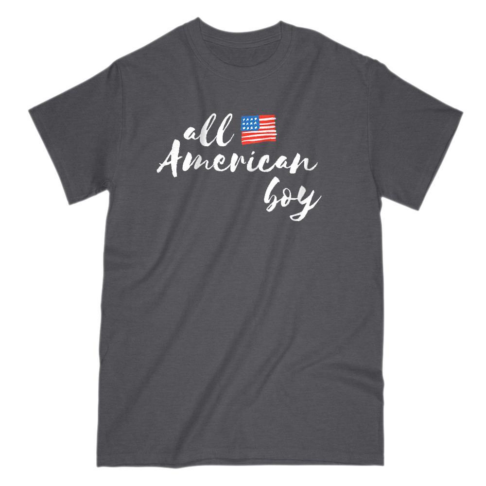 All American Boy Patriotic Flag T-Shirt Graphic T-Shirt Tee BOXELS
