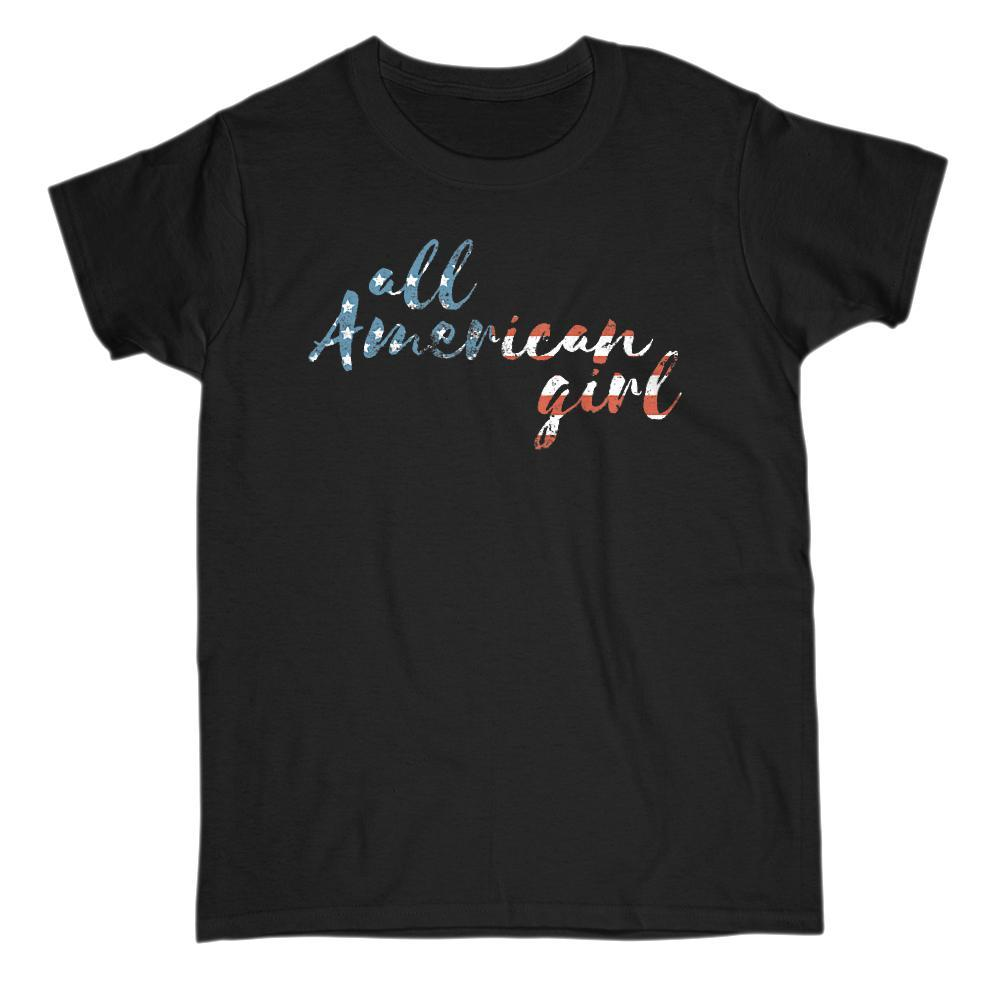 all American girl Patriotic Grunge Graphic Red White Blue Flag T-Shirt Graphic T-Shirt Tee BOXELS
