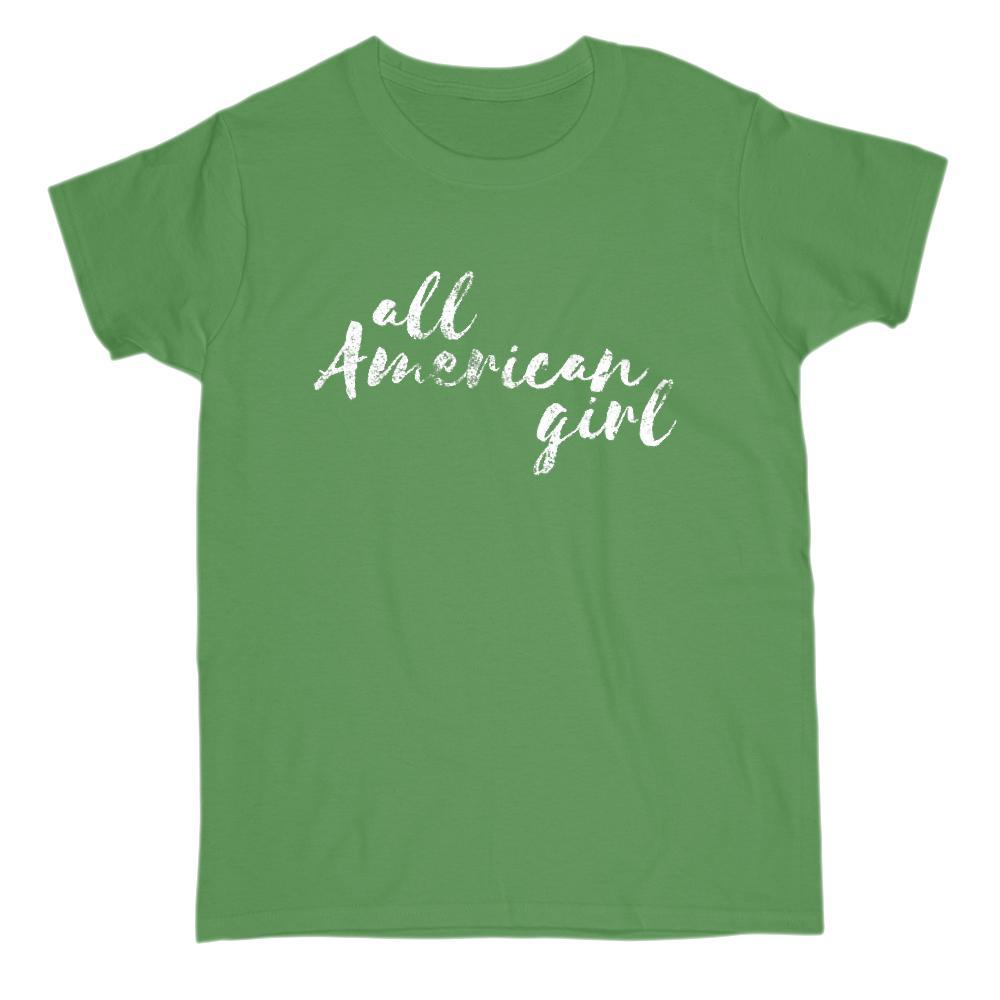 All American Girl Patriotic Grunge Graphic T-shirt v2 Graphic T-Shirt Tee BOXELS