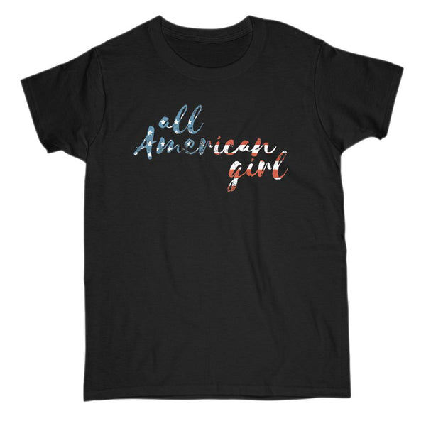 All American Girl Women's Patriotic FLAG red, white, blue T-shirt Graphic T-Shirt Tee BOXELS