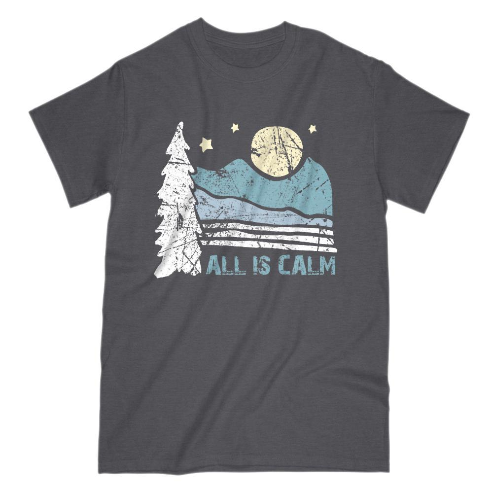 All Is Calm Scenic Mountain Night Moon Graphic T-SHirt Graphic T-Shirt Tee BOXELS