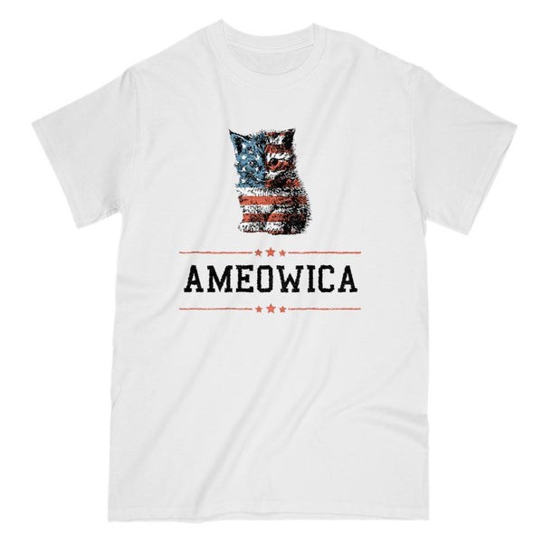 Ameowica America Patriotic Cute Kitten Stars and Stripes T-Shirt Graphic T-Shirt Tee BOXELS