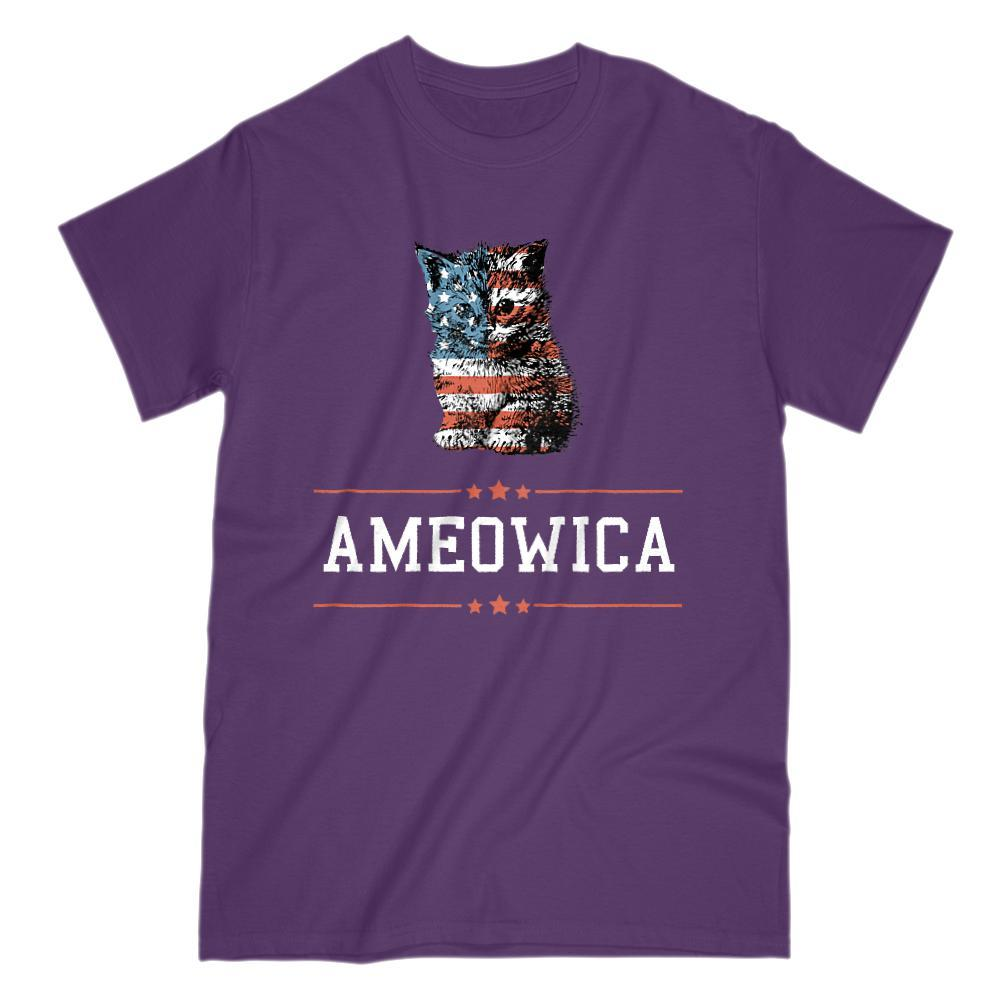 Ameowica (white) America Patriotic Cute Kitten Stars and Stripes T-Shirt Graphic T-Shirt Tee BOXELS