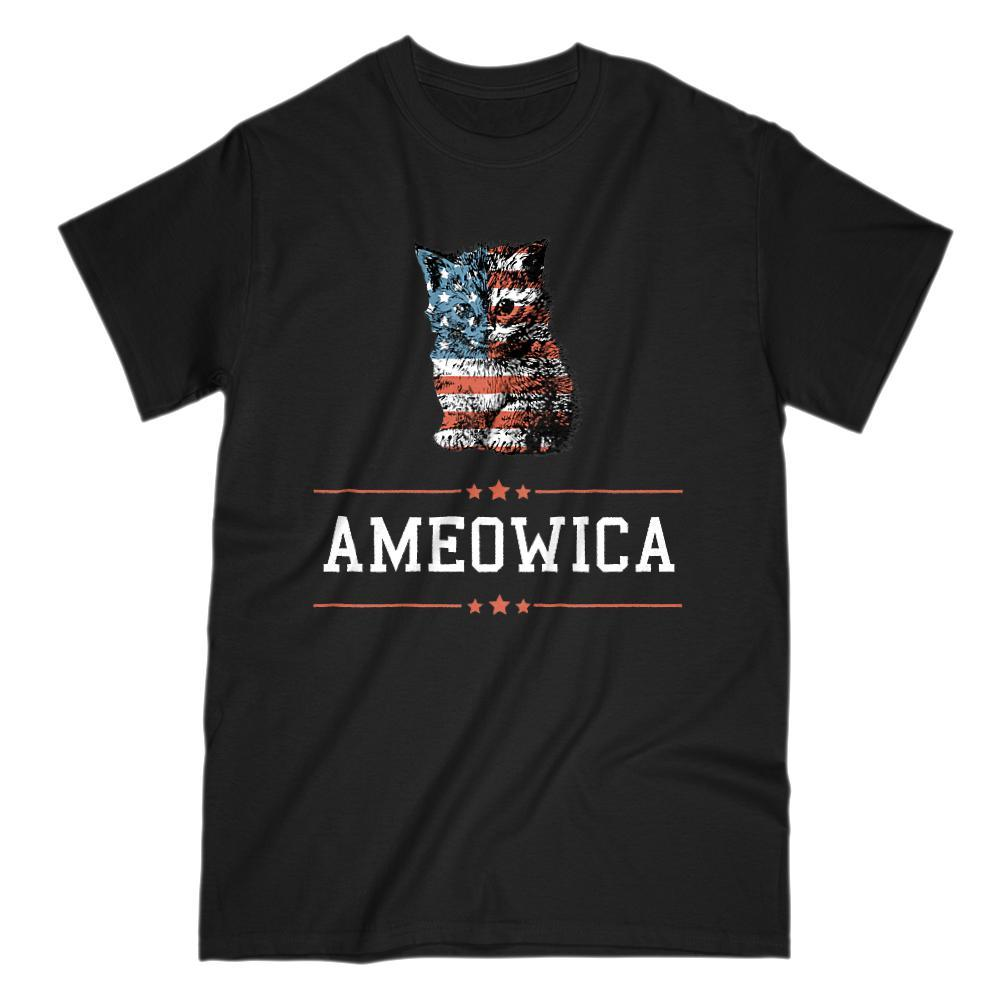 Ameowica (white) America Patriotic Cute Kitten Stars and Stripes T-Shirt