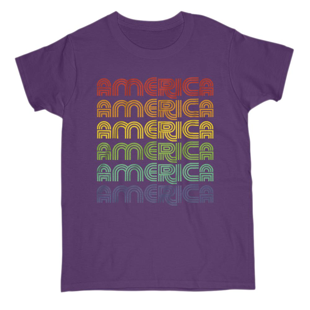 America 1970 V2 Retro Patriotic T-Shirt Graphic T-Shirt Tee BOXELS