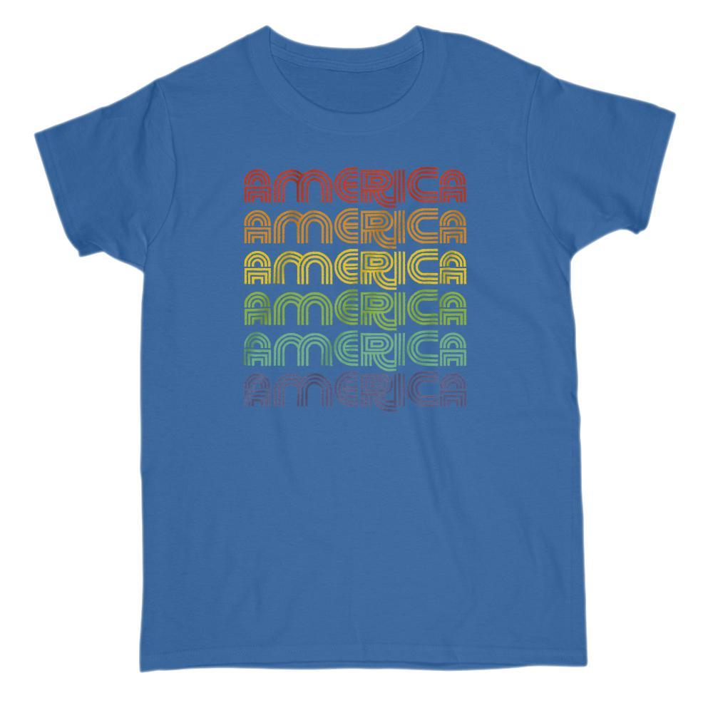 America 1970s Retro patriotic Rainbow Font T-Shirt Graphic T-Shirt Tee BOXELS