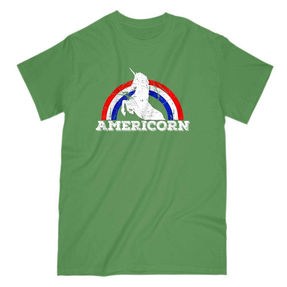 Americorn Unicorn America Patriotic Rainbow Red White Blue Tee Graphic T-Shirt Tee BOXELS
