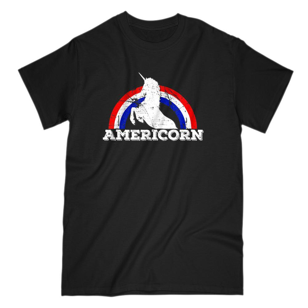 Americorn Unicorn America Patriotic Rainbow Red White Blue Tee
