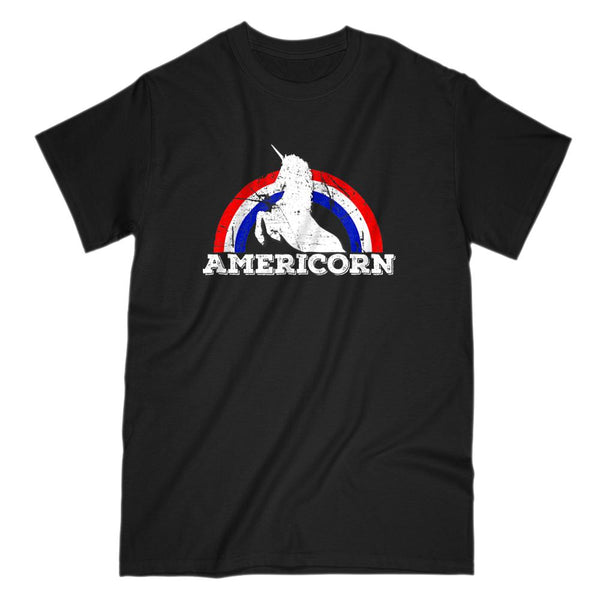 Americorn V2 Unicorn America Patriotic Rainbow T-shirt Graphic T-Shirt Tee BOXELS