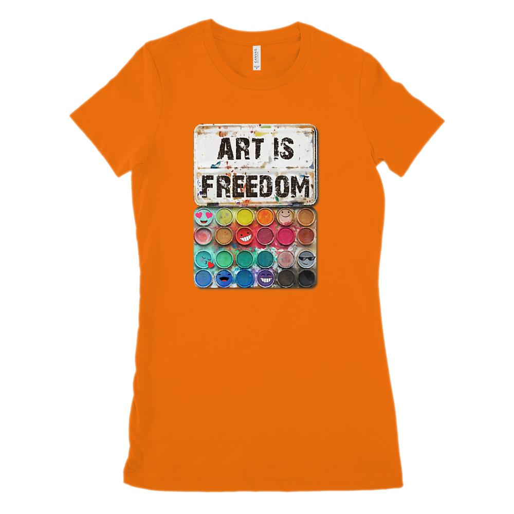 Art Is Freedom Paint Set (Women's BC 6004 Soft Tee) Graphic T-Shirt Tee BOXELS