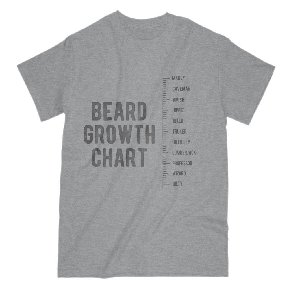Beard Growth Chart Manly to Deity Graphic T-Shirt