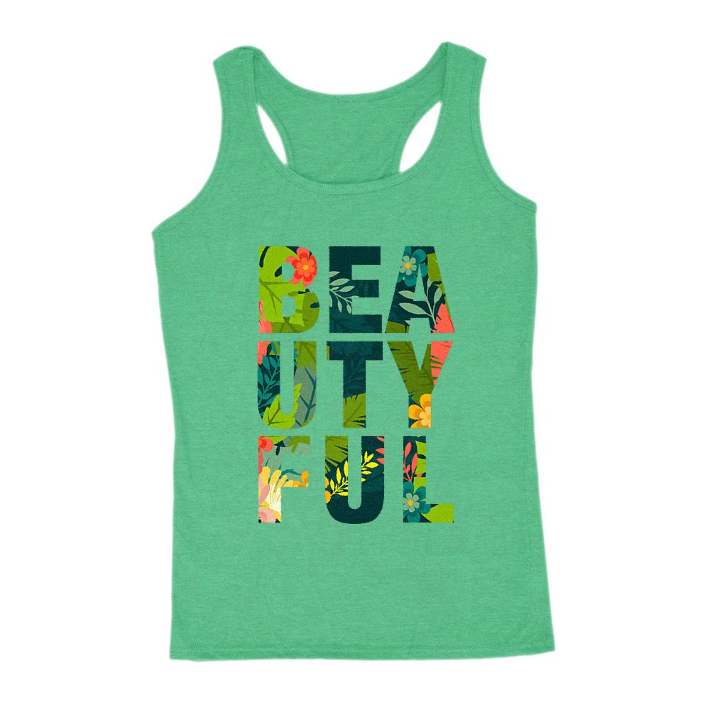 BEAUTY FUL (beautiful) Palm Font Saying Women's Tank Graphic T-Shirt Tee BOXELS