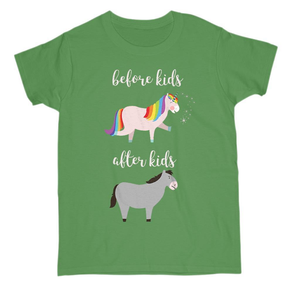 Before and After Kids Unicorn Mule Funny Mom Baby Tee Graphic T-Shirt Tee BOXELS