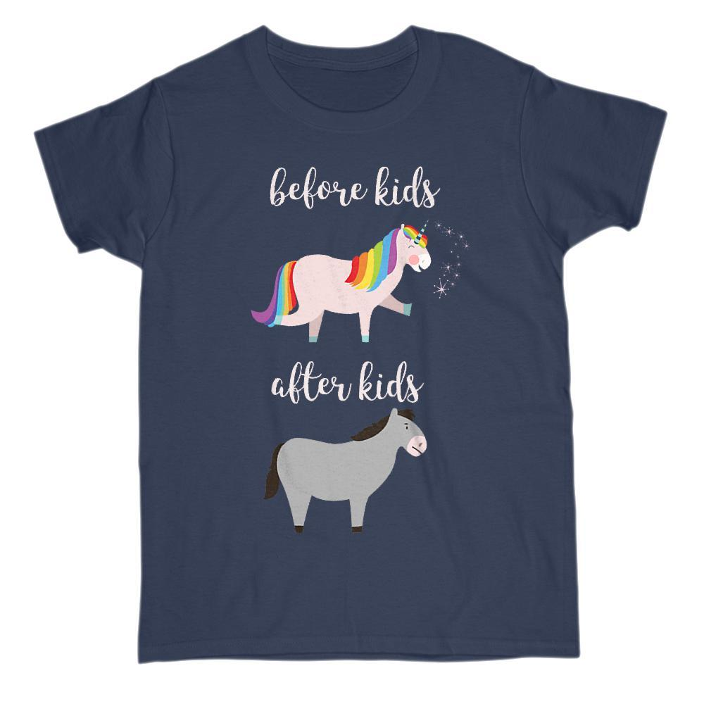 Before and After Kids Unicorn Mule Funny Mom Baby Tee