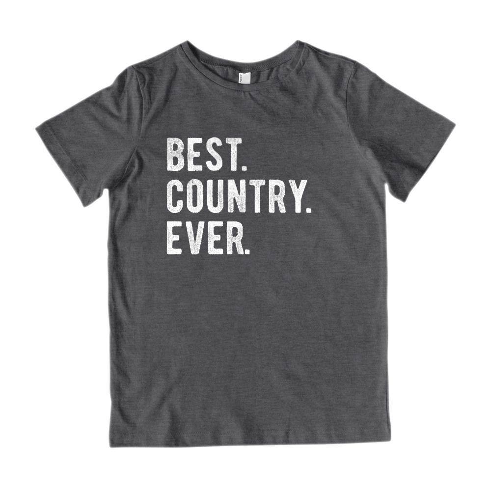 Best. Country. Ever. White font - Kids Patriotic T-Shirt Graphic T-Shirt Tee BOXELS