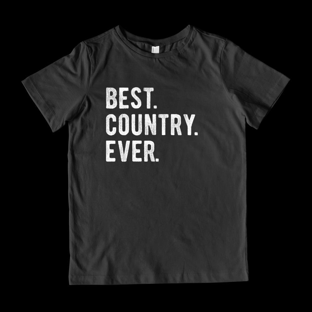 Best. Country. Ever. White font - Kids Patriotic T-Shirt