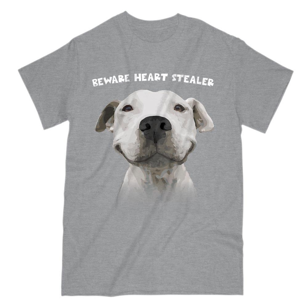 Beware Heart Stealer Pitbull Loving Dogs Digital Art T-Shirt Graphic T-Shirt Tee BOXELS