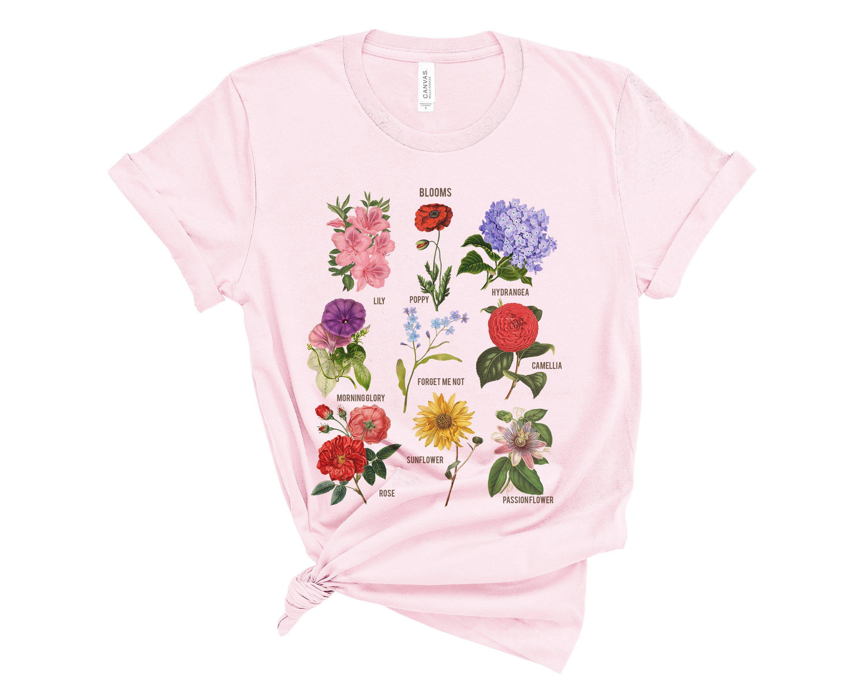 Blooms Botanical Flower Floral Chart Soft Bella Tee Graphic T-Shirt Tee BOXELS