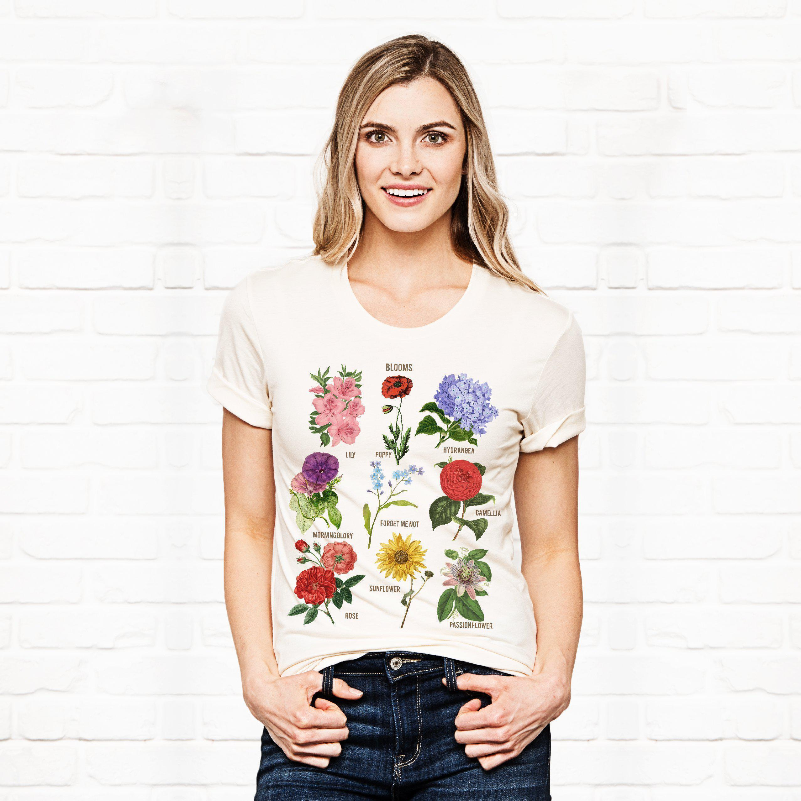 Blooms Botanical Flower Floral Chart Soft Bella Tee