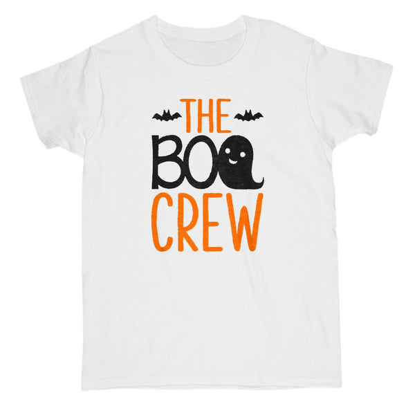 Boo Crew (Gildan Women's Cotton Tee) Ghost Bat Matching Tees | Matching Set Graphic T-Shirt Tee BOXELS