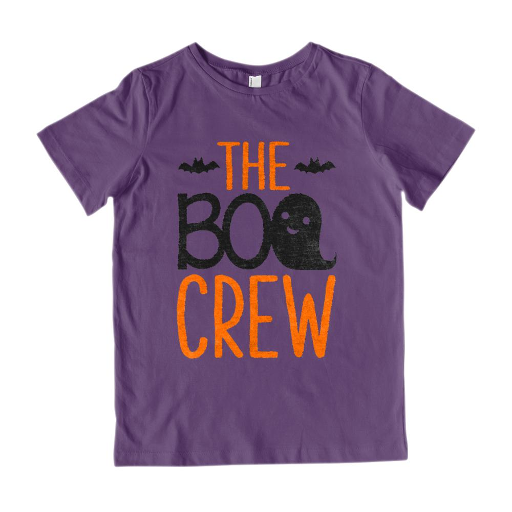 Boo Crew (Kid's Gildan Cotton Tee) Ghost Bat Matching Tees | Matching Set Graphic T-Shirt Tee BOXELS