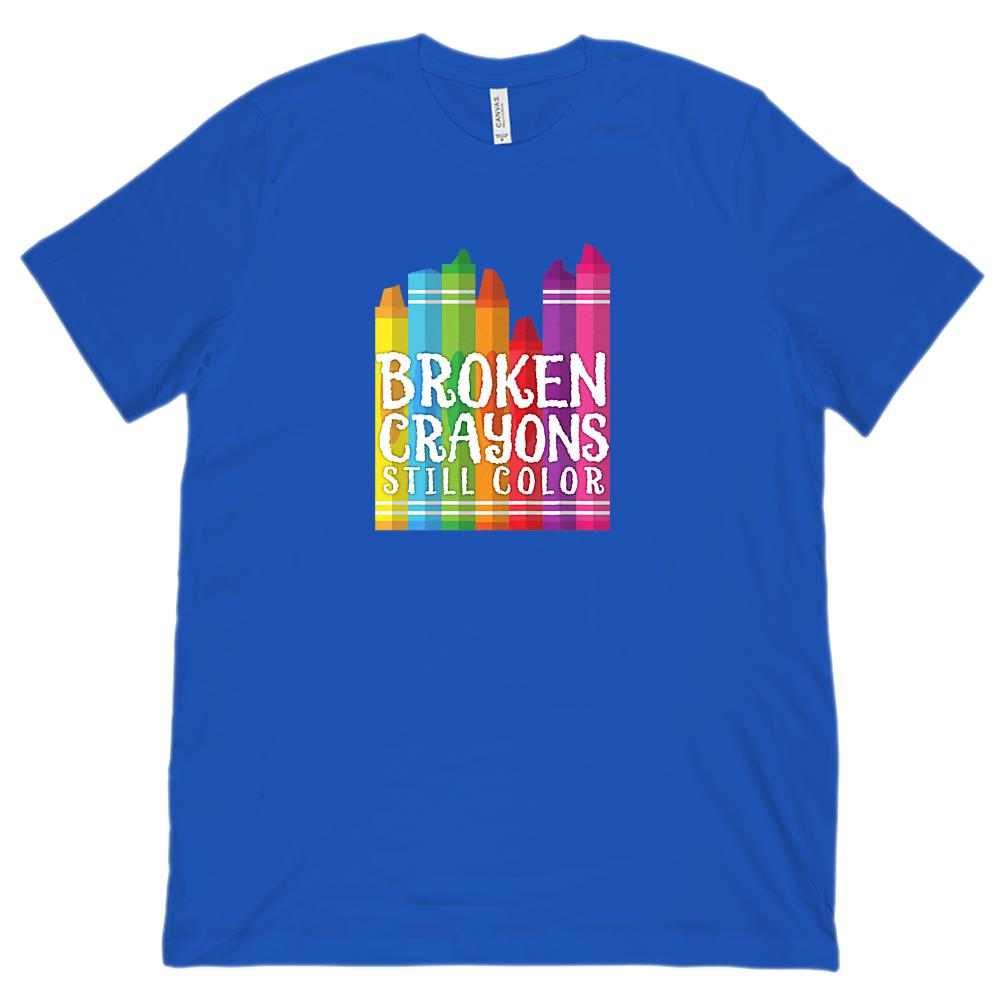Broken Crayons Still Color Funny Teacher Tee (Unisex BC 3001 Soft Tee) Graphic T-Shirt Tee BOXELS