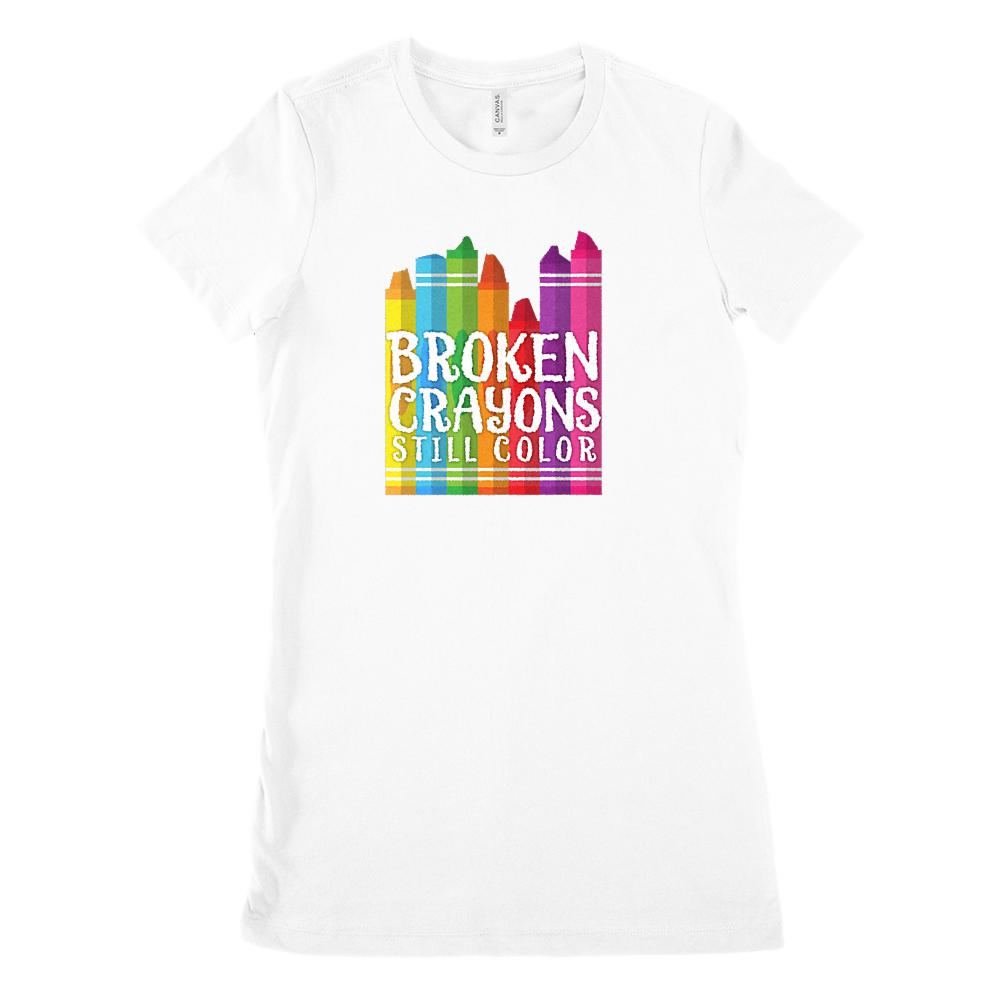 Broken Crayons Still Color Funny Teacher Tee (Women's BC 6004 Soft Tee) Graphic T-Shirt Tee BOXELS