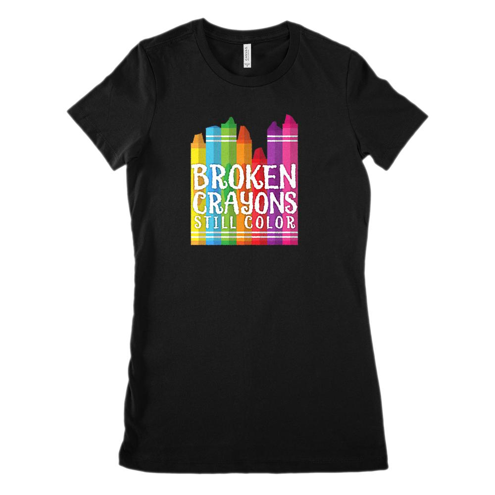 Broken Crayons Still Color Funny Teacher Tee (Women's BC 6004 Soft Tee)