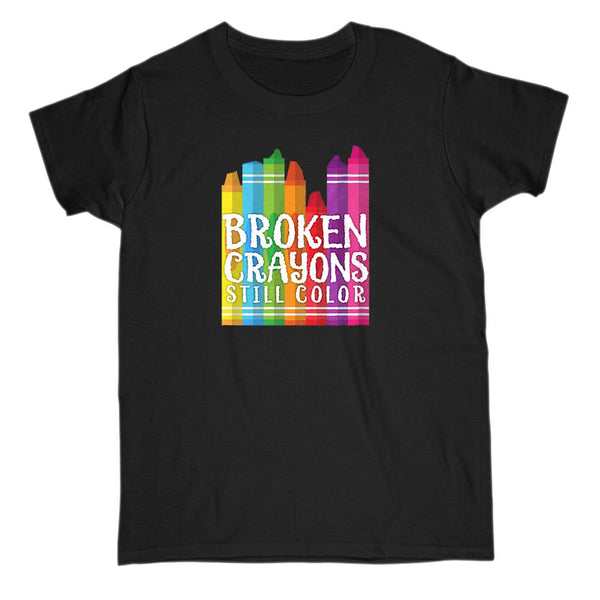 Broken Crayons Still Color Funny Teacher Tee (Women's Gildan Cotton Tee) Graphic T-Shirt Tee BOXELS