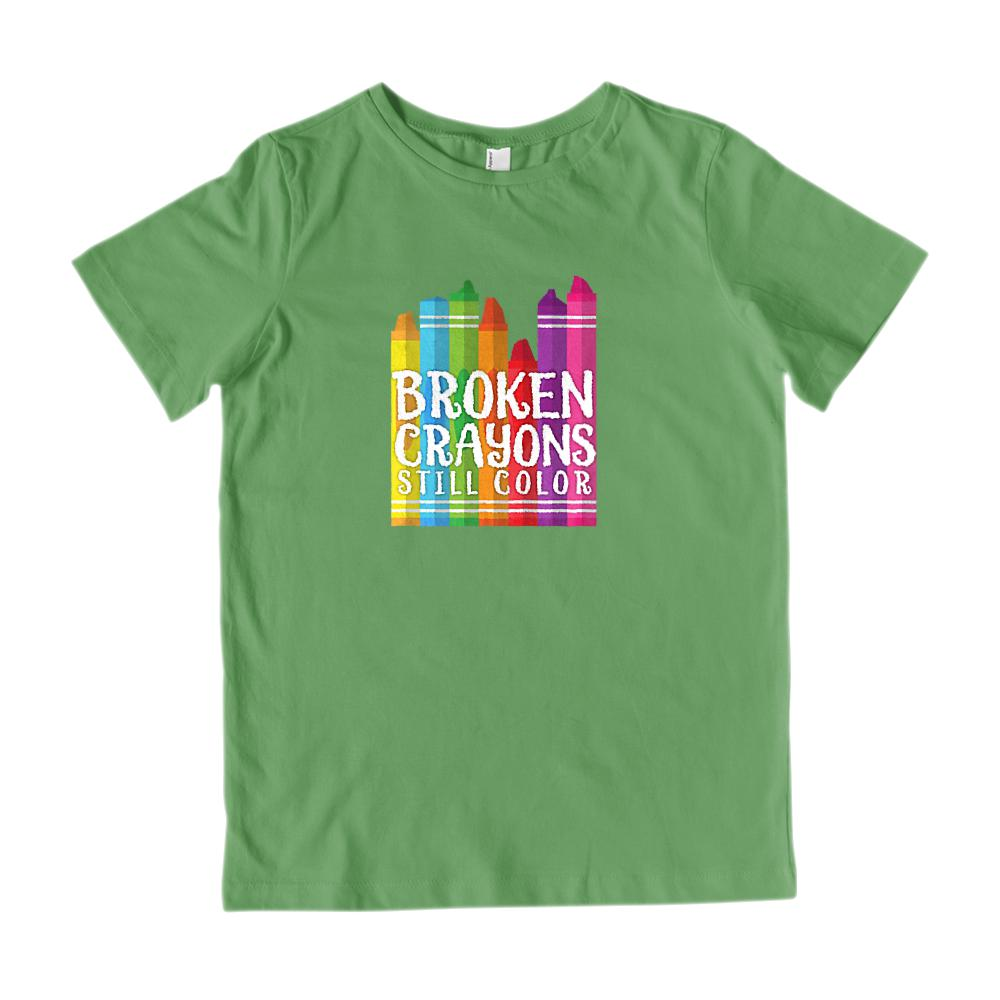 Broken Crayons Still Color Love Christian Gospel (Kid's Gildan Cotton Tee) Graphic T-Shirt Tee BOXELS