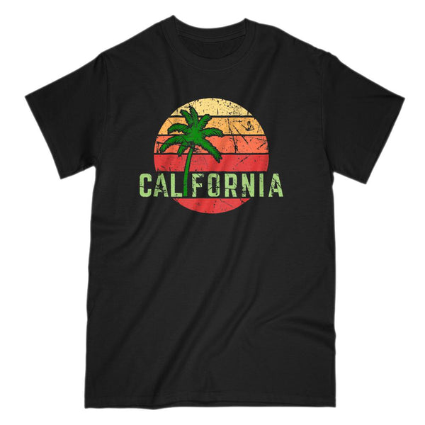 California Beach Palm Sunset Vacation T-shirt (Men) Graphic T-Shirt Tee BOXELS