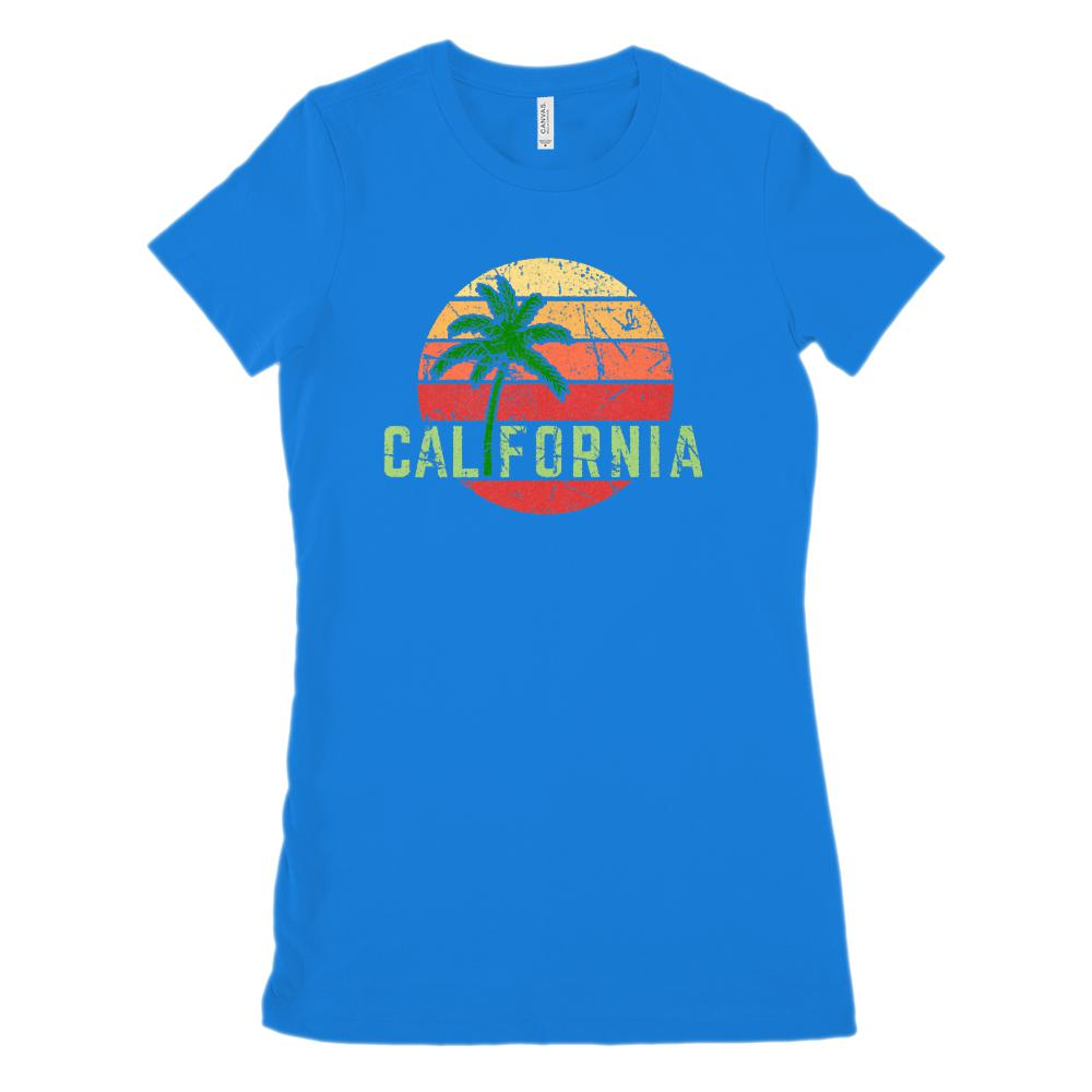 California Palm Sunset Outdoors Summer (Women's BC 6004 Soft Tee) Graphic T-Shirt Tee BOXELS