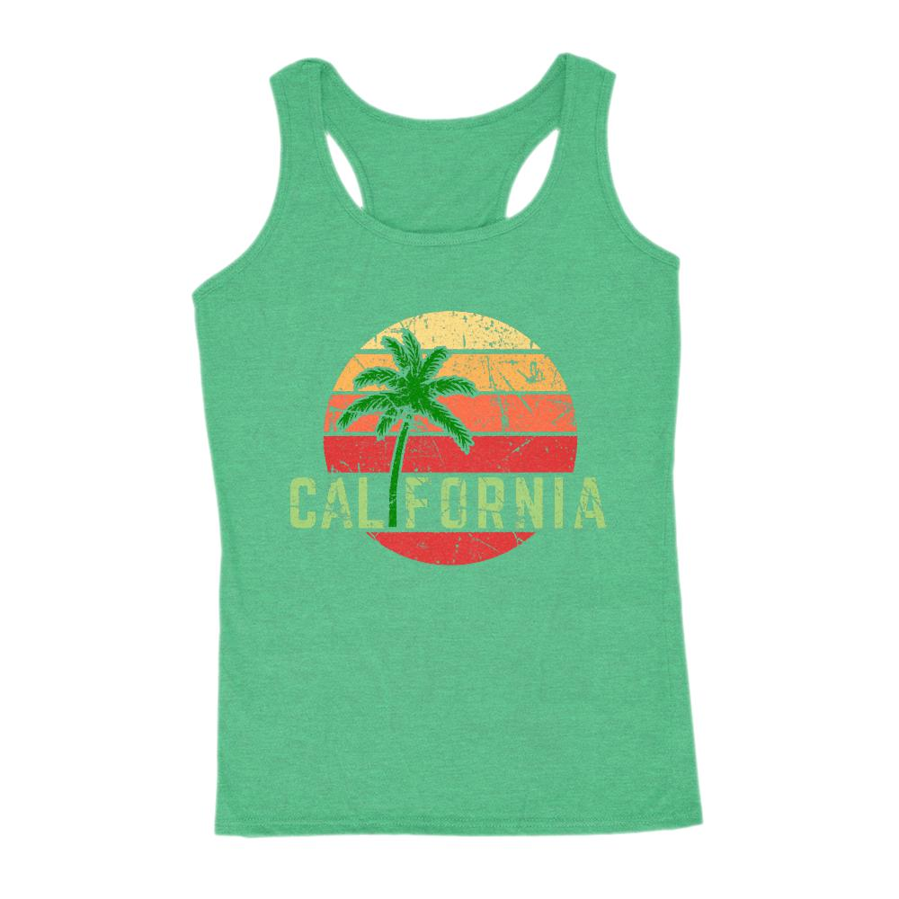 California Palm Tree Outdoors Beach Sunset Tank (women) Graphic T-Shirt Tee BOXELS