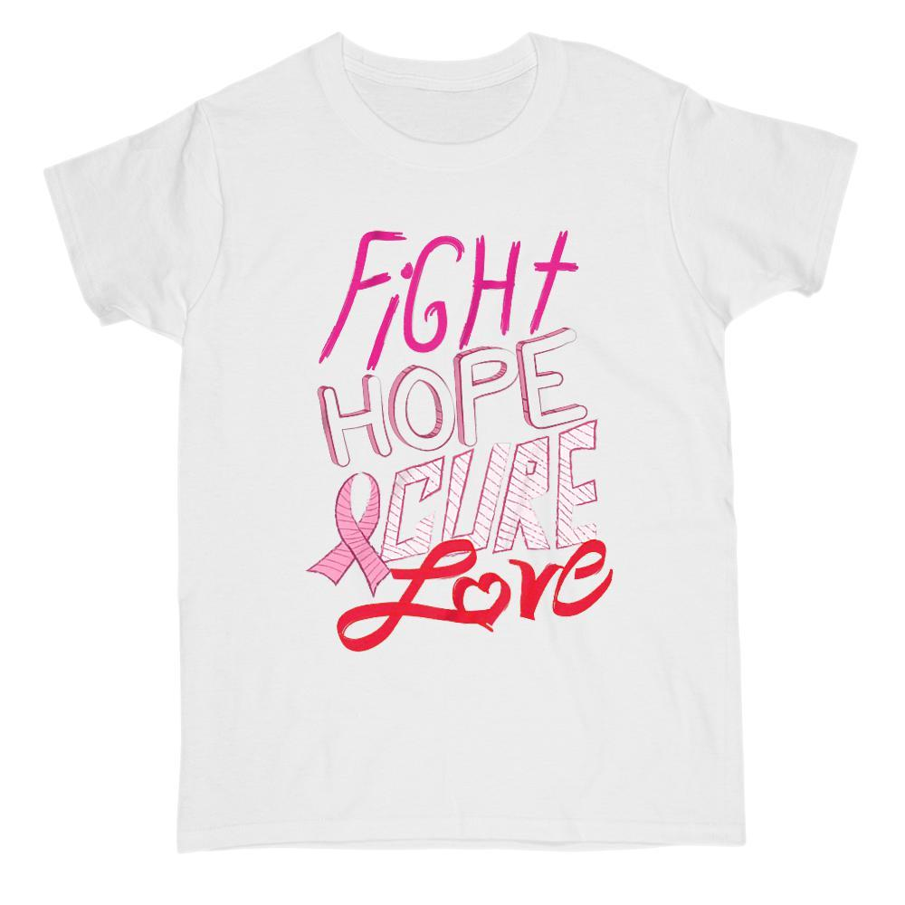 Cancer Fight Hope Cure Love Pink Ribbon Graphic Tee Graphic T-Shirt Tee BOXELS