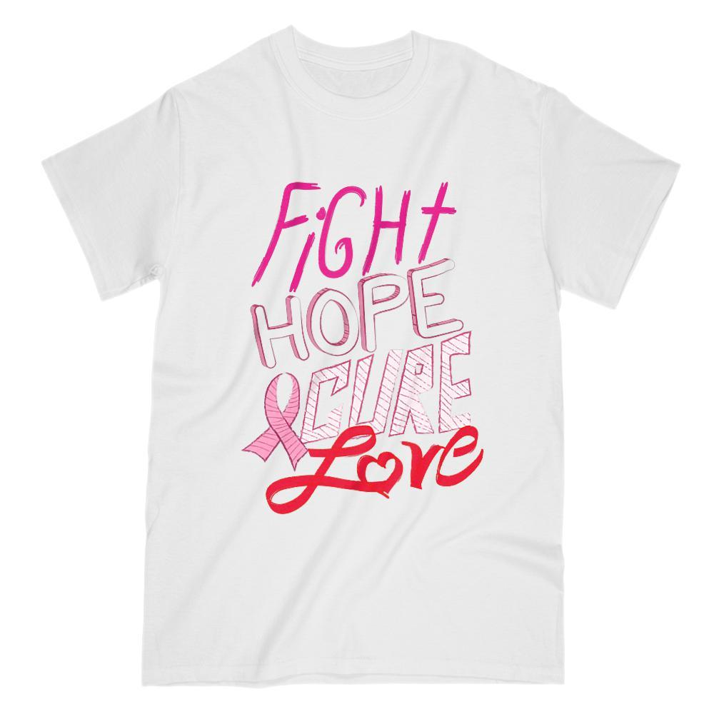 Cancer Fight Hope Cure Love Pink Ribbon Graphic Tee
