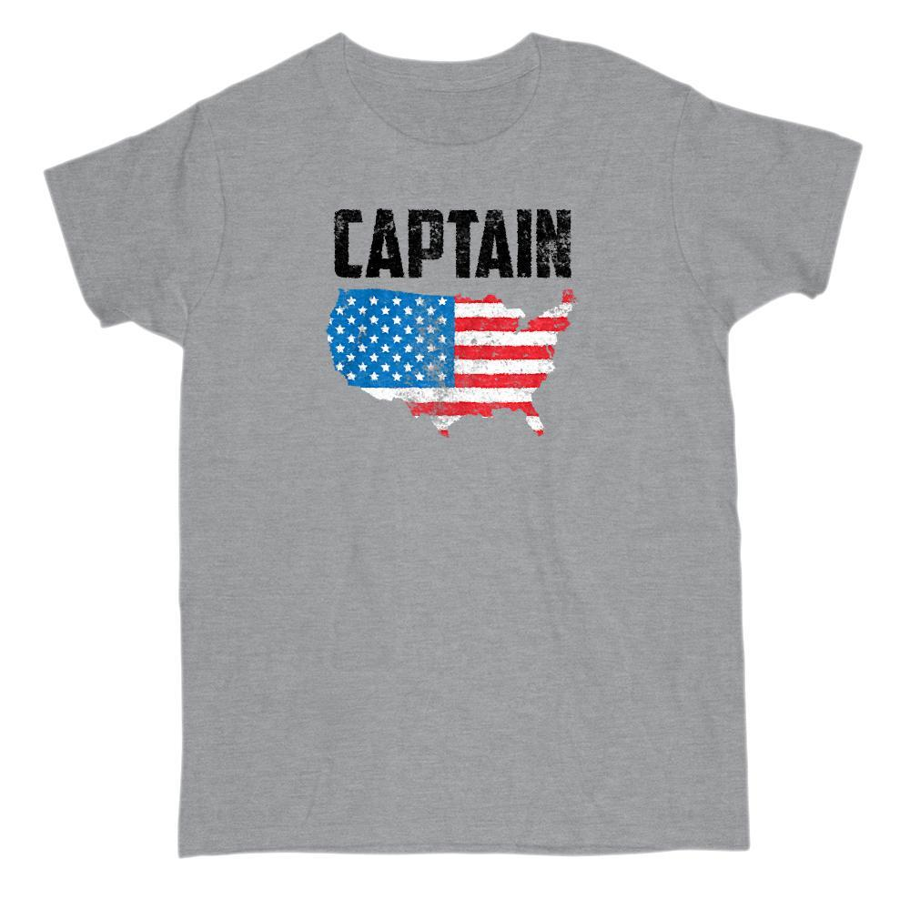 CAPTAING America USA Patriotic T-Shirt Graphic T-Shirt Tee BOXELS