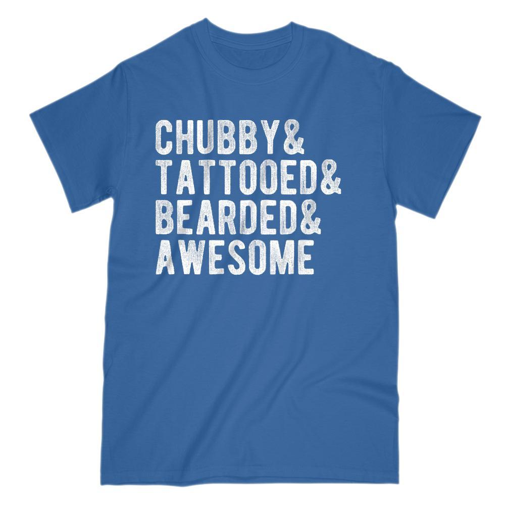 Chubby & Tattooed & Bearded & Awesome Manly Graphic T-Shirt Graphic T-Shirt Tee BOXELS