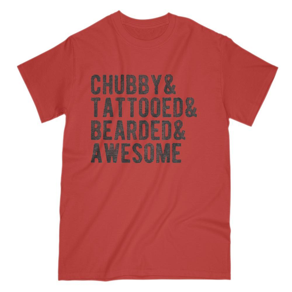 Chubby & Tattooed & Bearded & Awesome T-shirt Graphic T-Shirt Tee BOXELS